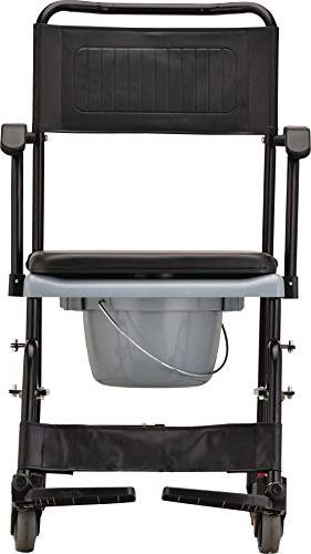 NOVA Medical Products 8805 Drop Transport Commode, Wheels and Removable Padded Seat