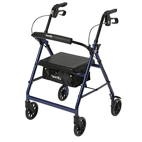 Aluminum Rollator, Padded Seat, 6 inch Casters - Blue