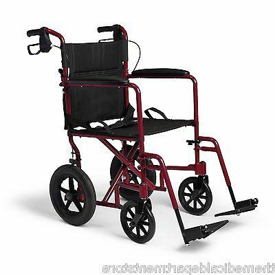 Medline Transport Wheelchair Red, 1