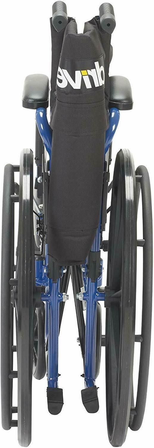 Drive Medical Blue Wheelchair with Flip Back Desk Swing