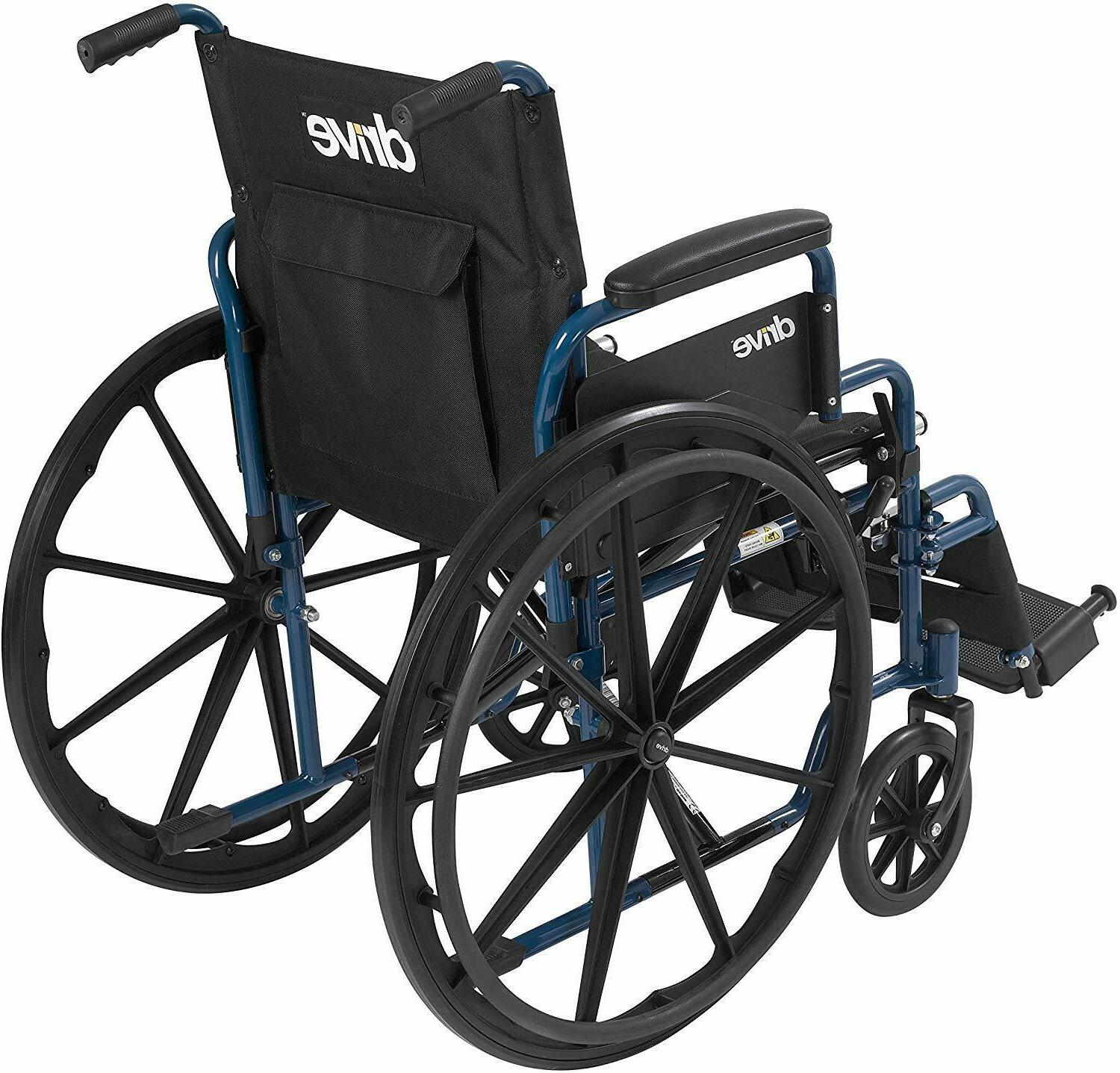 Drive Medical Blue Streak Wheelchair with Flip Desk Arms,