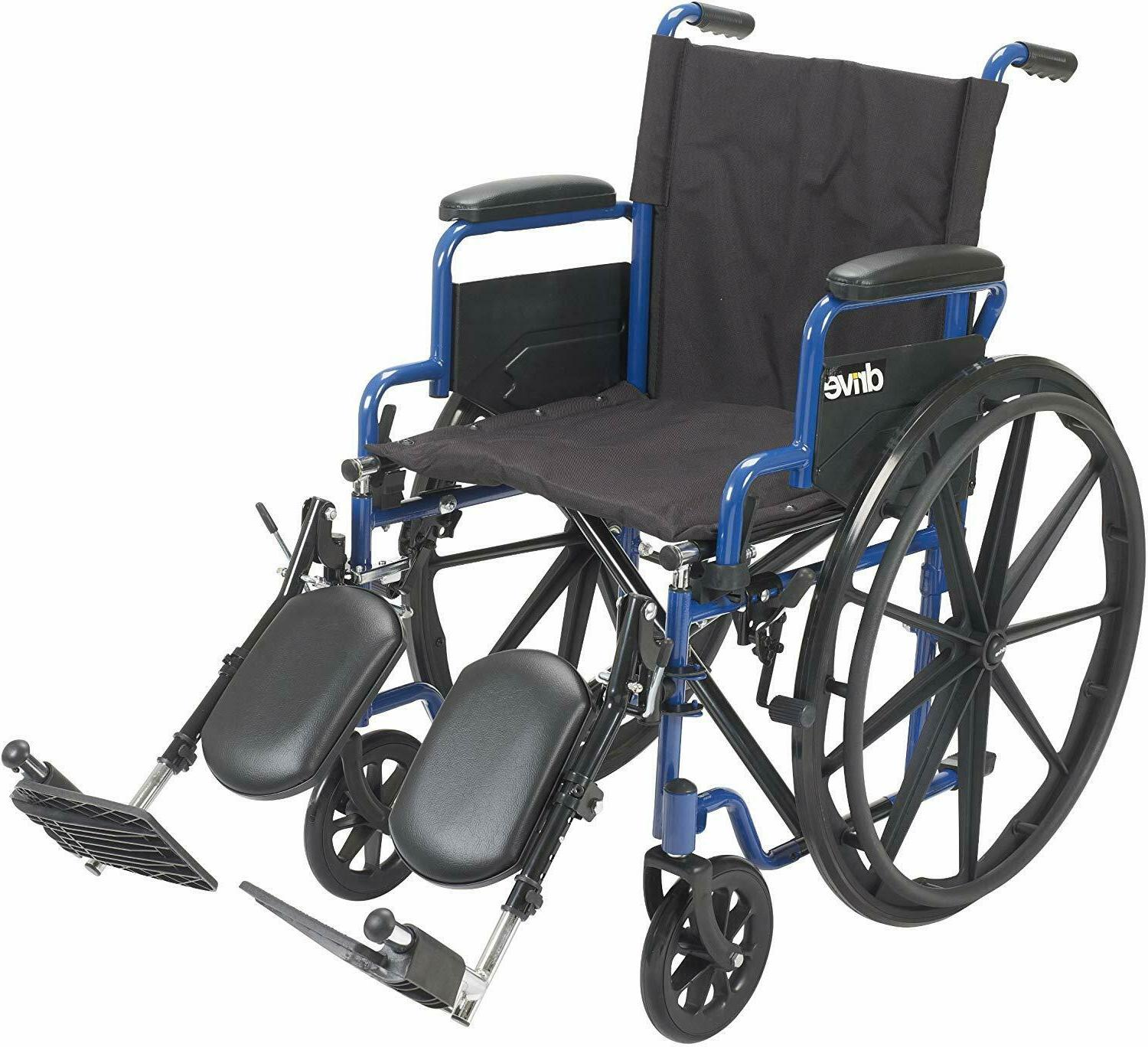 drive medical blue streak wheelchair with flip