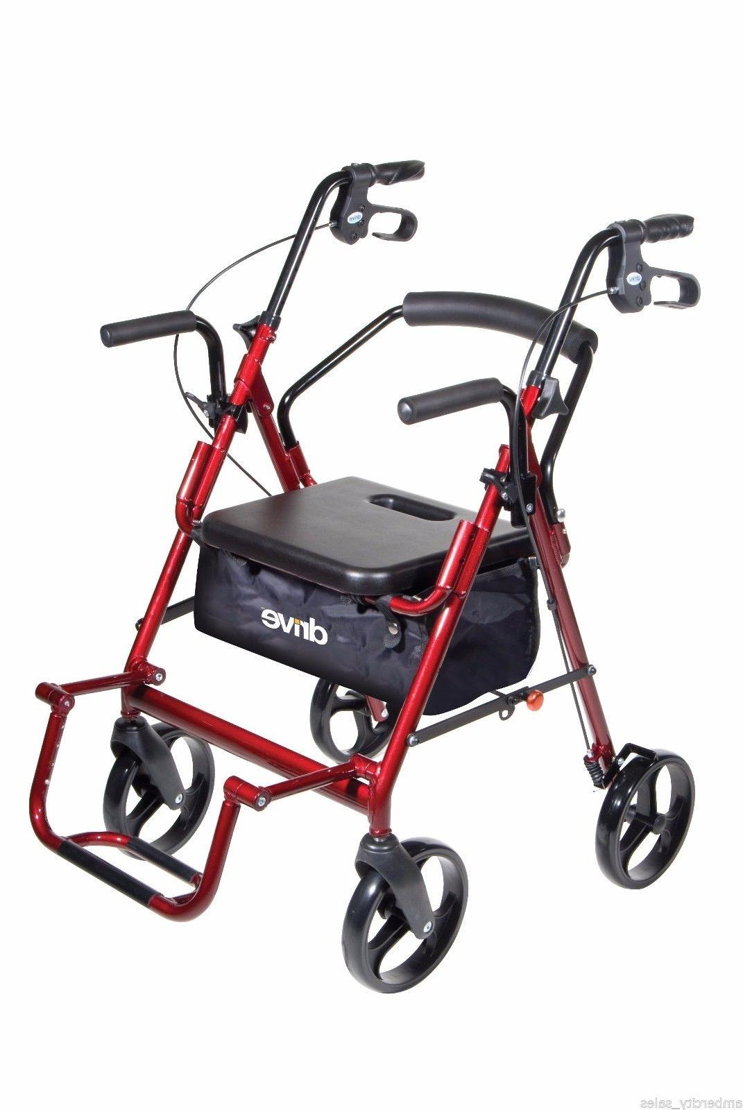 Duet Transport Chair Walker: 2 in 1 combo Drive Medical