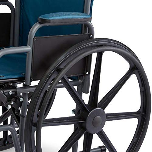 "Medline Wheelchair with Desk-Length Leg Rests, 18"" x 16"" Microban Protection, Frame,"