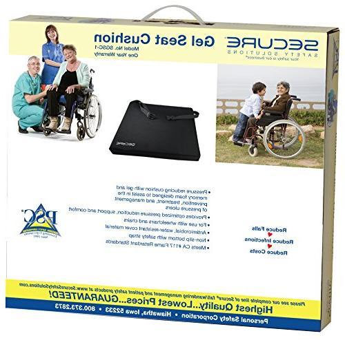 """Secure Comfort Foam Seat Cushion with Safety and 18"""" x 3"""" - Hip Tailbone Pain, Back Support"""