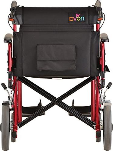 """NOVA Extra Wide 22"""" Heavy Duty with Flip Easy Transfer, Weight Capacity, Anti-Tippers Included, Red"""