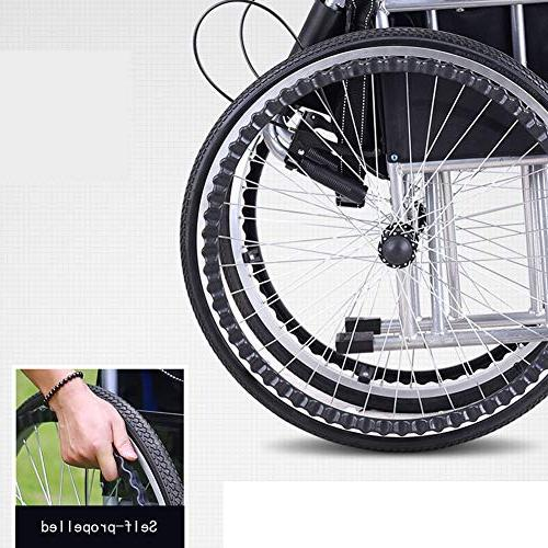 Household Aluminum Alloy Wheelchair, Portable Light Trolley Wheelchair Disabled