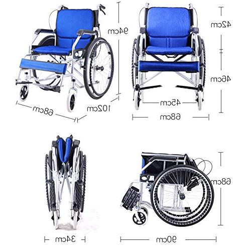 Household Aluminum Wheelchair, Lightweight Portable Light Old Trolley