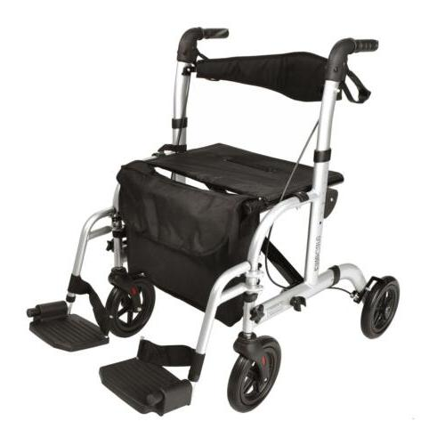 Hybrid 2 in 1 rollator walker  / transport wheelchair with f
