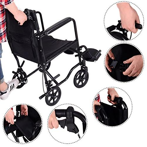 Giantex Lightweight Foldable Wheelchair, Wide Transport with Hand Brakes