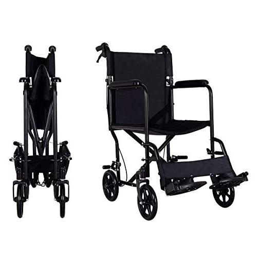 Giantex Foldable Wheelchair, Seat, Transport with Hand