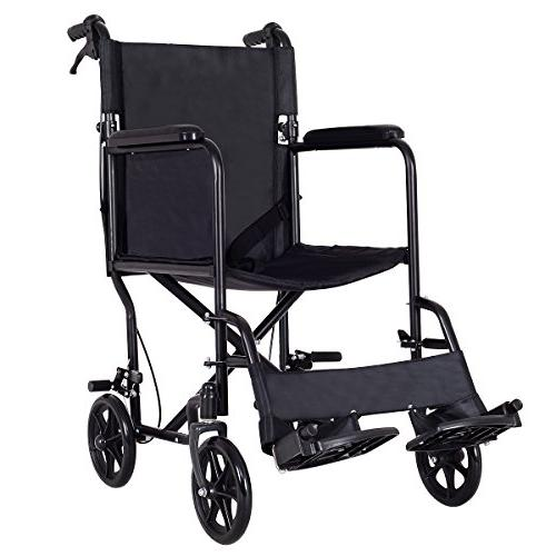 lightweight foldable medical wheelchair wide seat transport