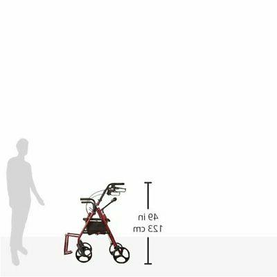 Drive Medical Duet Function Transport Wheelchair Rollator, Burgundy