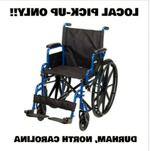 new medical blue streak wheelchair flip back