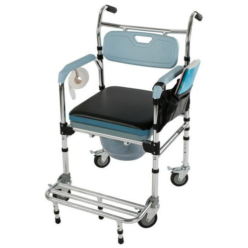 New Medical Commode Commode Wheelchair Bedside & Rolling