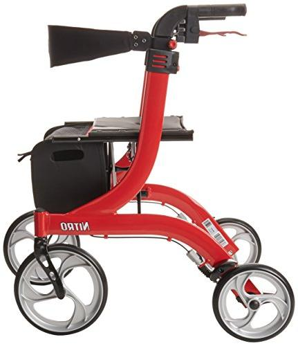 Drive Medical Nitro Style Rollator Walker, Red