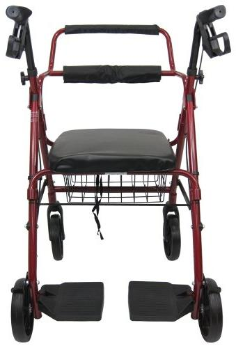 Karman R-4602-T-BD Aluminum 2-in-1 Rollator/Transport, Burgundy, Inches Casters