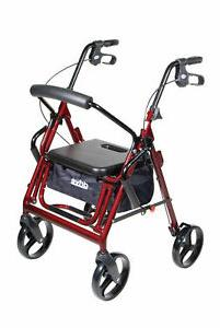 Rollator Walker Duet Burgundy Transport Wheelchair Pneumatic