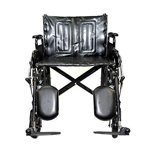 Self Seat Bariatric Wheelchair with Elevating Leg Rest Dual 500lbs Weight Capacity Detachable Arms