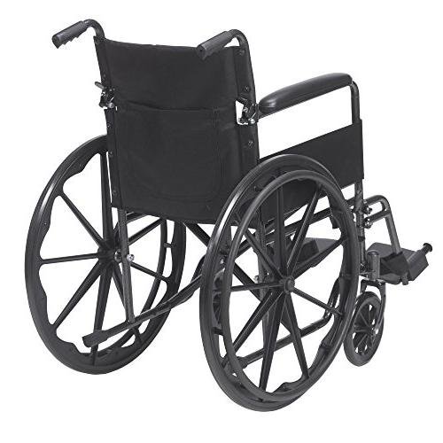 Drive Medical Silver Sport Wheelchair with Full and Swing away Removable Footrest
