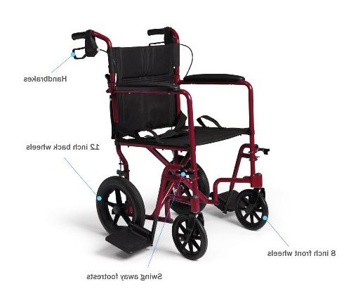 Medline Lightweight Transport Adult Folding Wheelchair with Red