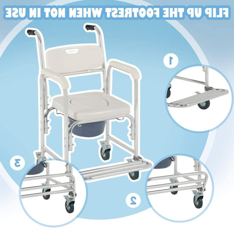 Transport Wheelchair Toilet Seat Shower Thick Padded Casters