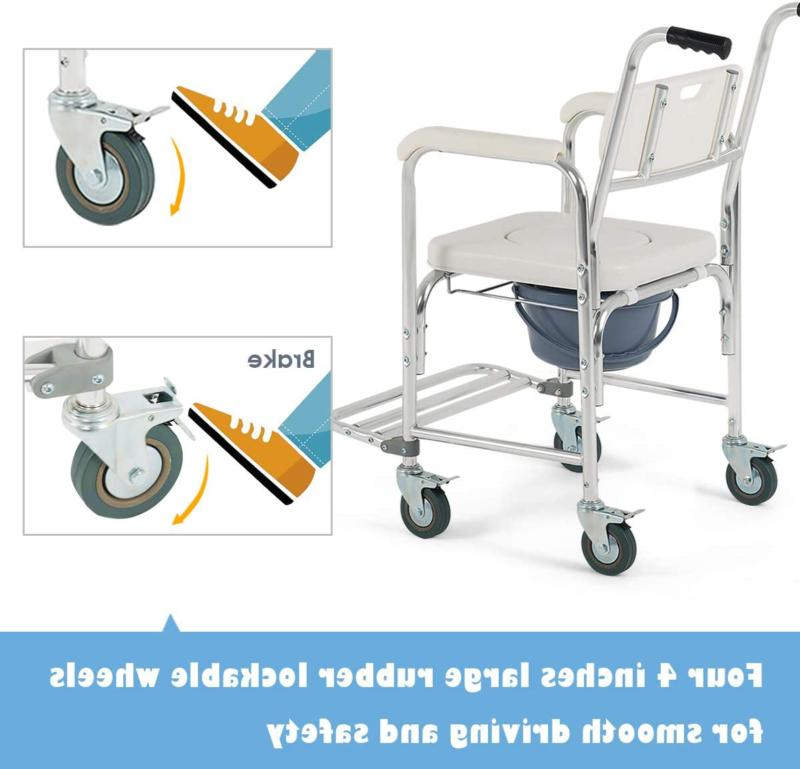Transport Wheelchair Shower Thick Padded Locking Casters