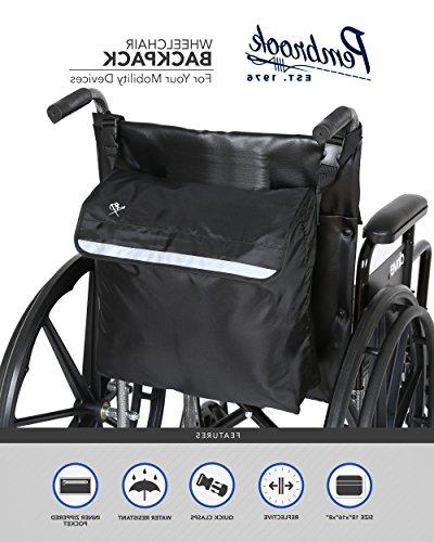 Pembrook Wheelchair Backpack - Black - accessory for mobility devices. most Scooters, Walkers, Manual, Wheelchairs