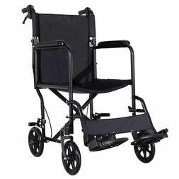 Lightweight Folding Medical Wheelchair Transport w/ Hand Bra