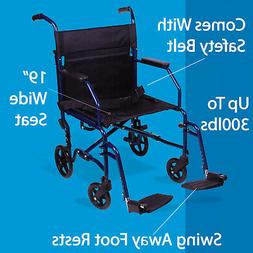 Lightweight Folding Transport Wheelchair Portable Heavy Duty