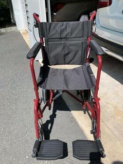 Medline Lightweight Transport Adult Folding Wheelchair with