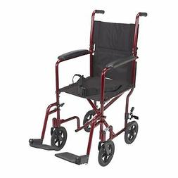 "Drive Medical Lightweight Transport Wheelchair, 17"" Seat, Re"