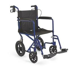 Medline Lightweight Transport Wheelchair w/Handbrakes, 12 in