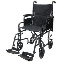 Lightweight Transport Wheelchair with Detachable Desk Arms S