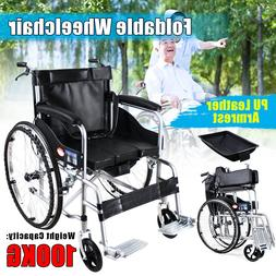 Manual Folding Wheelchair Lightweight  Mobility Leather Seat