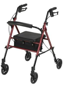 Drive Medical Adjustable Height Rollator with 6 Inches Wheel