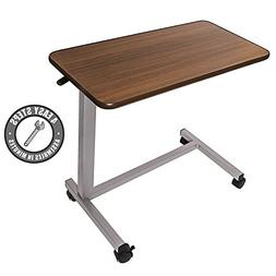Medical Adjustable Overbed Bedside Table with wheels