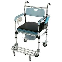Medical Bedside Toilet & Shower Chair Commode Wheelchair Rol