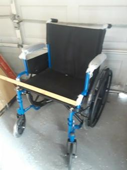 medical blue streak wheelchair with flipback rest