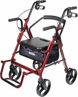Drive Medical Duet Transport Wheelchair Rollator Walker, Blu
