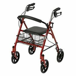 Drive Medical Four Wheel Rollator with Fold Up Removable Bac