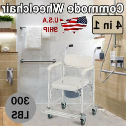 Medical Rolling Commode Shower Wheelchair Toilet Seats Bedsi