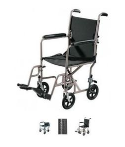 Drive Medical TR37E-SV Steel Transport Chair  17 Inch Seat W