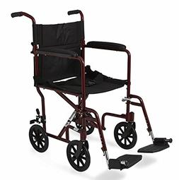 Medline Basic Aluminum Transport Chair with Wheels, Red, 8 i
