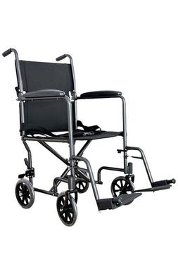NEW - Folding Transport Chair Wheelchair with Leg Rests and