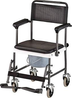 All-In-One Chrome Steel Shower / Commode Wheelchair with Dro
