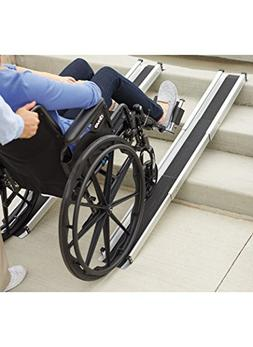 DMI Portable Wheelchair Ramp, Adjustable Telescoping Retract
