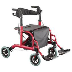 Rollator and Transport Chair in 1 XL, Burgundy