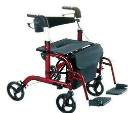 Vive Rollator Walker with Seat - Wheelchair Transport Chair