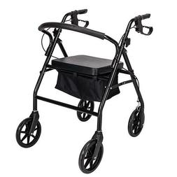 "Rollator Walker with Seat Steel Wheelchair Rolling 7.5"" Whee"